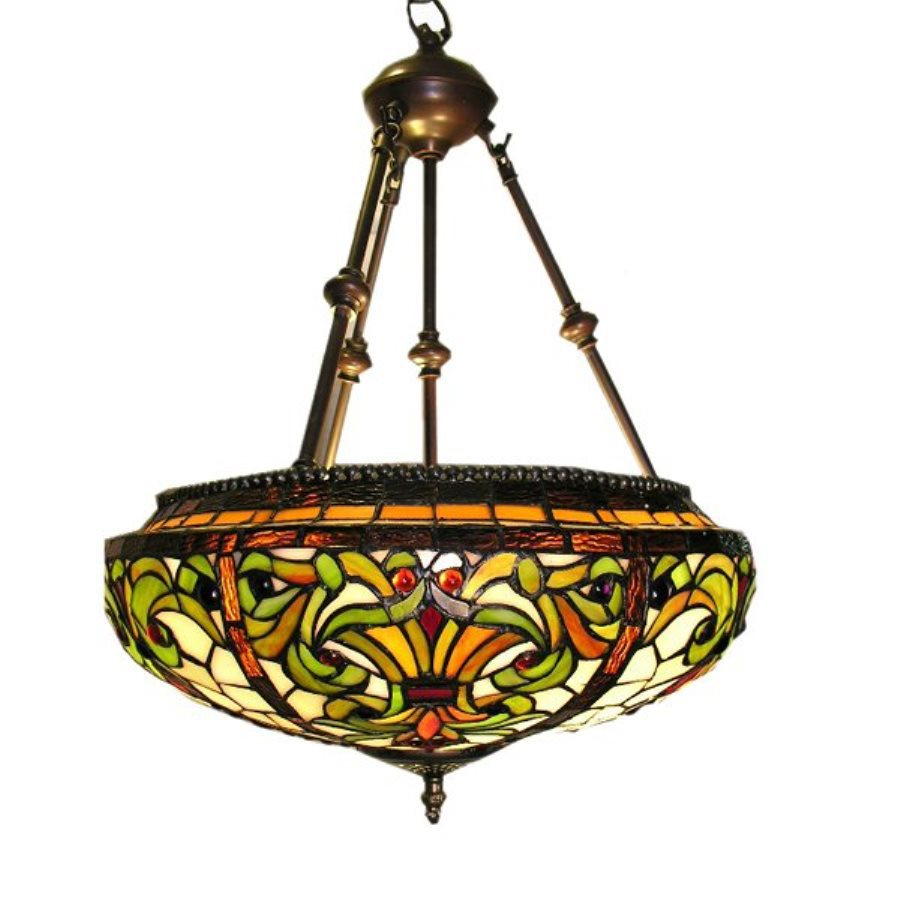 Warehouse of Tiffany 18-in Bronze Tiffany-Style Single Stained Glass Bowl Pendant
