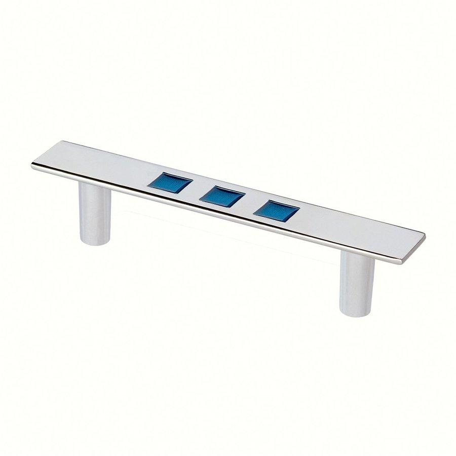 Siro Designs 3-3/4-in Center-To-Center Bright Chrome/Blue Rio Novelty Cabinet Pull