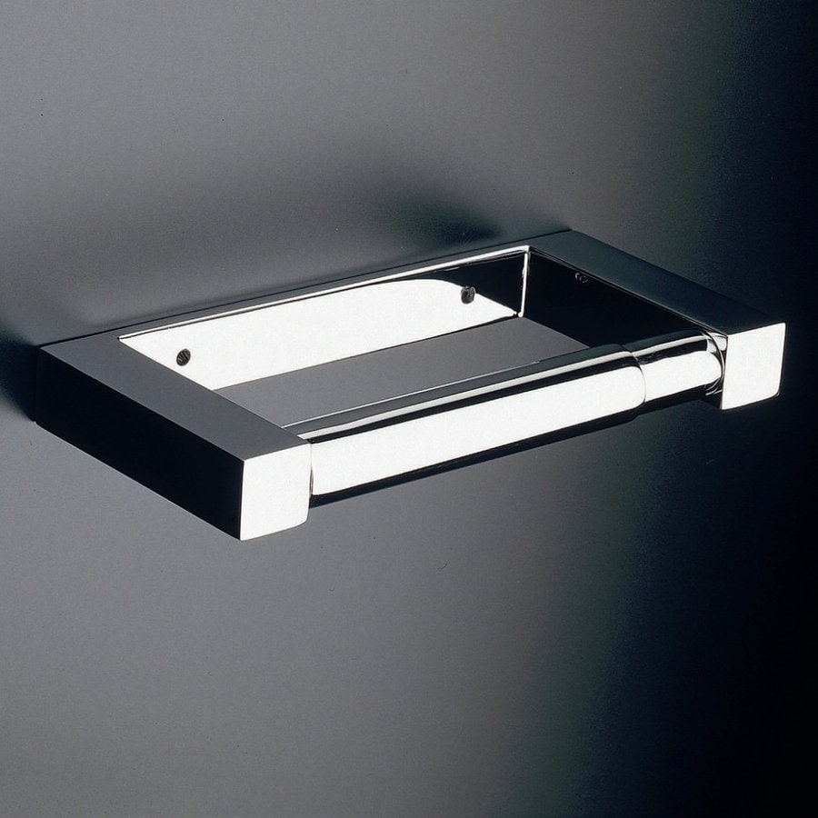 WS Bath Collections Metric Polished Chrome Surface Mount Toilet Paper Holder