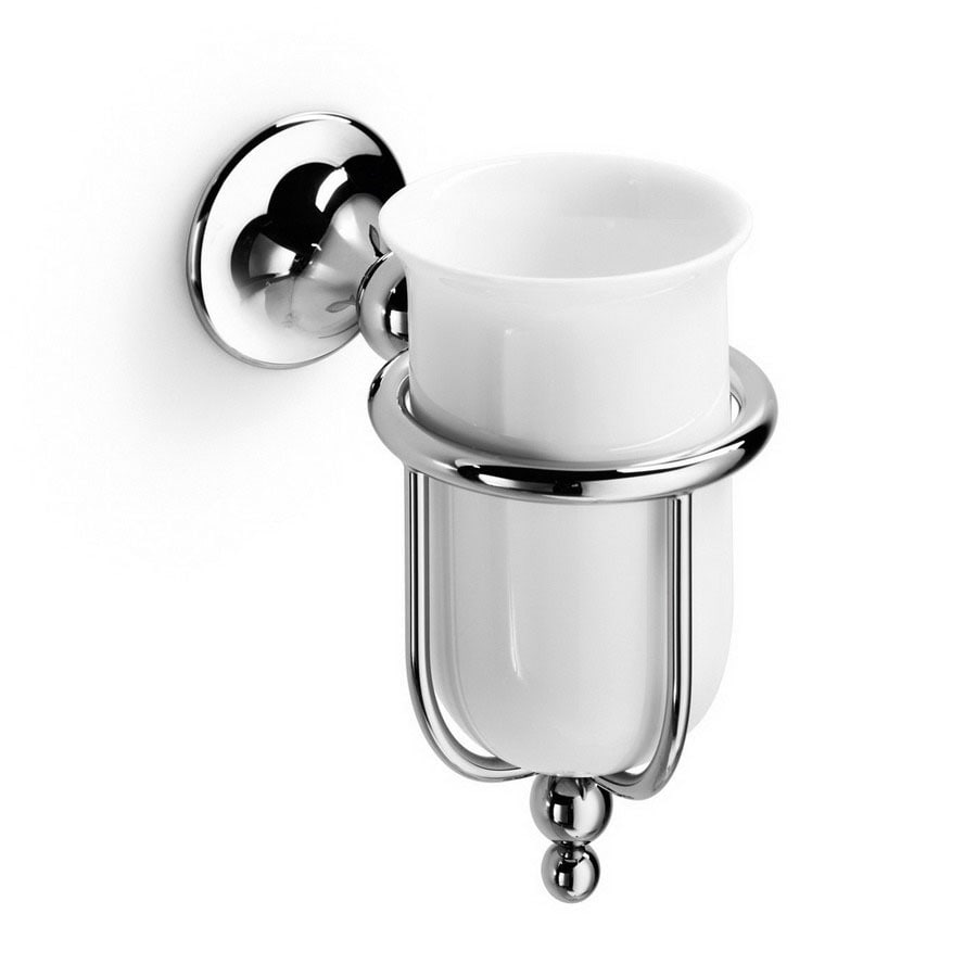 WS Bath Collections Venessia Polished Chrome Porcelain Brass Toothbrush Holder
