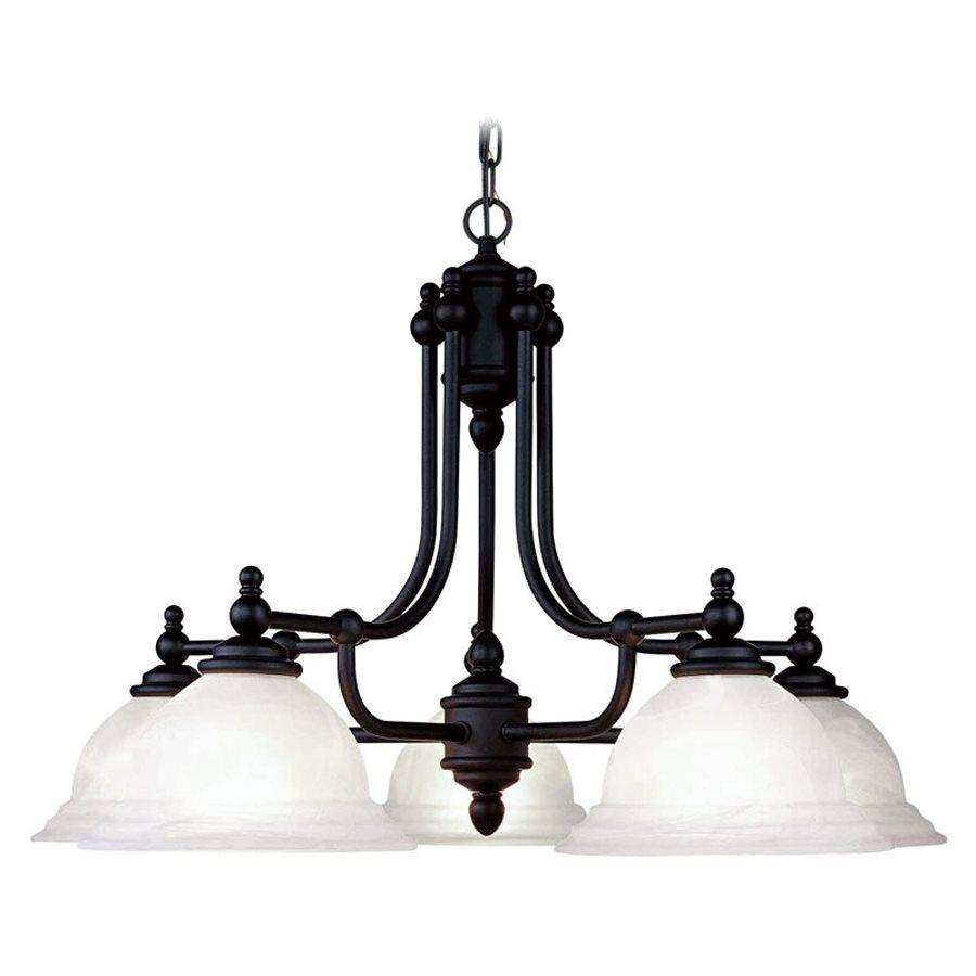 Livex Lighting North Port 28-in 5-Light Black Industrial Alabaster Glass Shaded Chandelier