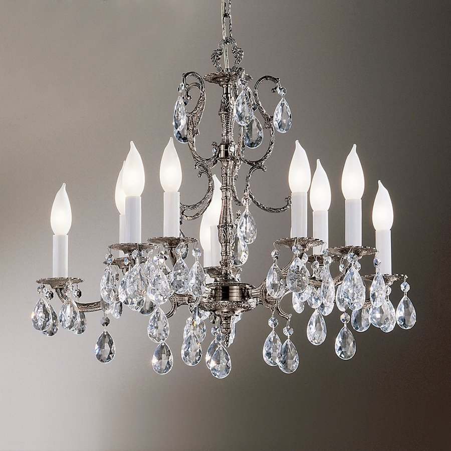 Classic Lighting Barcelona 22-in 10-Light Millennium Silver Crystal Candle Chandelier