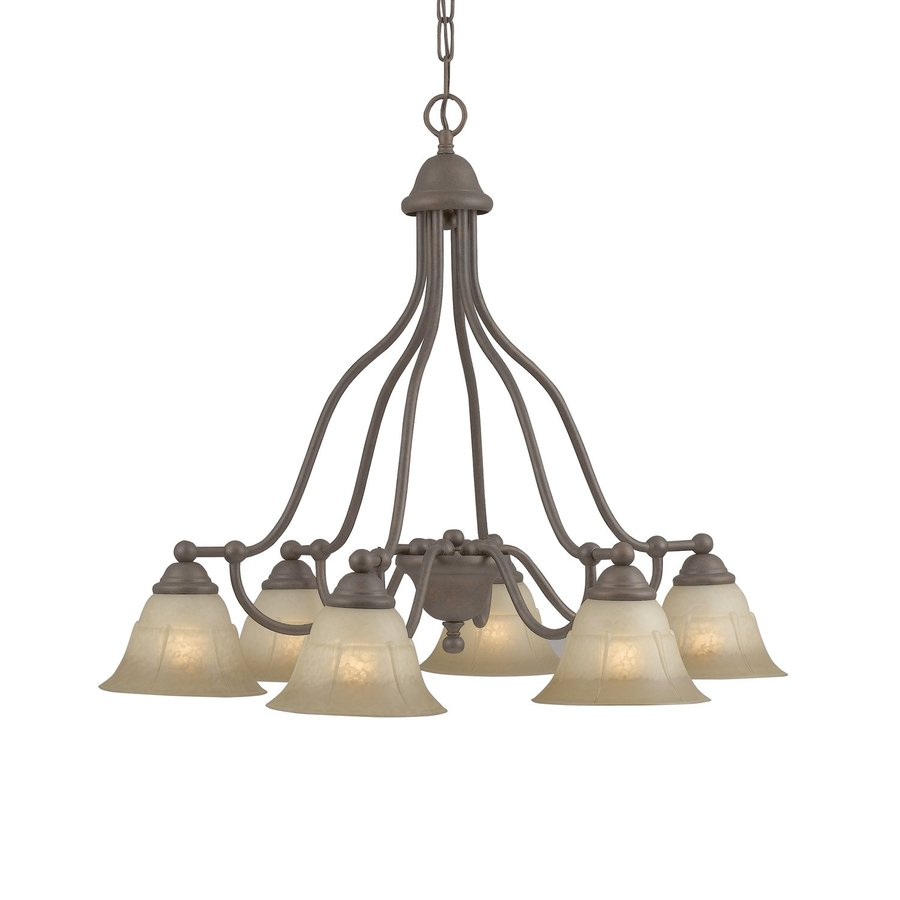 Classic Lighting Providence 29-in 6-Light Rustic Bronze Rustic Tinted Glass Shaded Chandelier