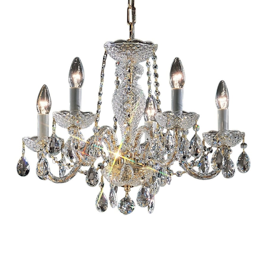 Classic Lighting Monticello 22-in 5-Light 24K Gold Plate Crystal Candle Chandelier
