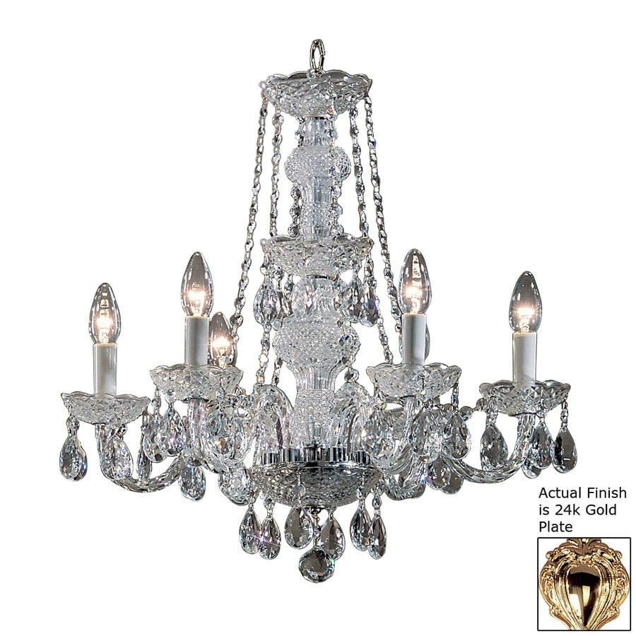 Classic Lighting Monticello 22-in 6-Light 24K Gold Plate Crystal Candle Chandelier