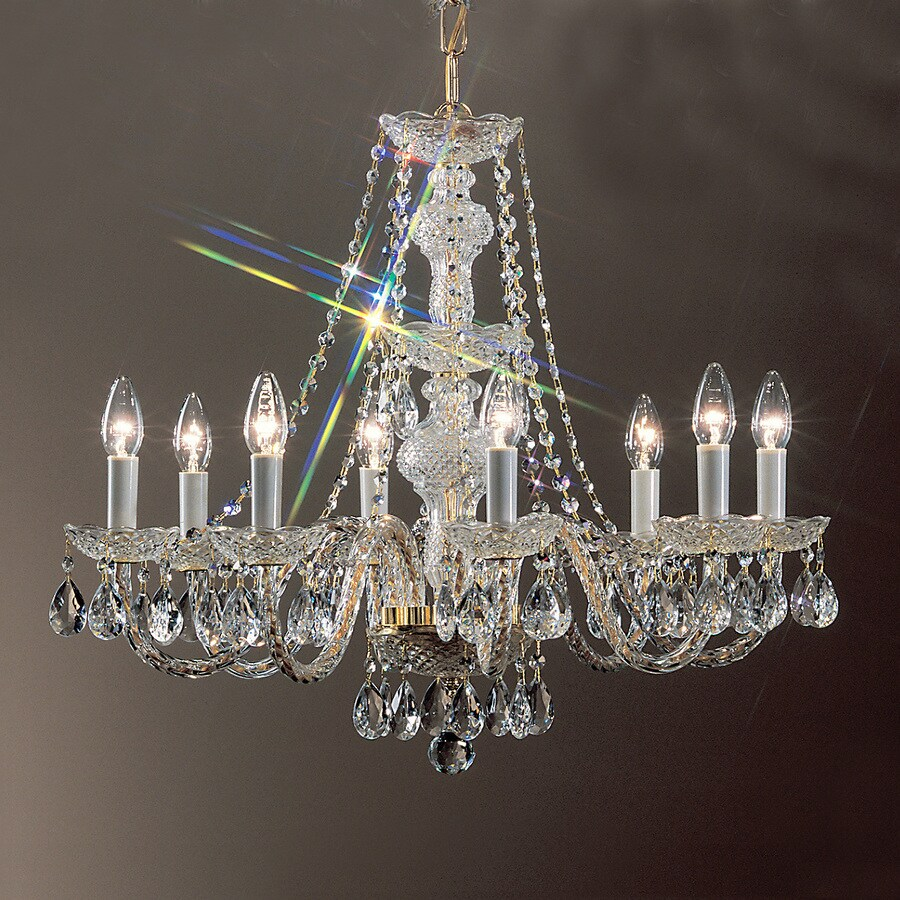 Classic Lighting Monticello 27-in 8-Light 24K Gold Plate Crystal Candle Chandelier