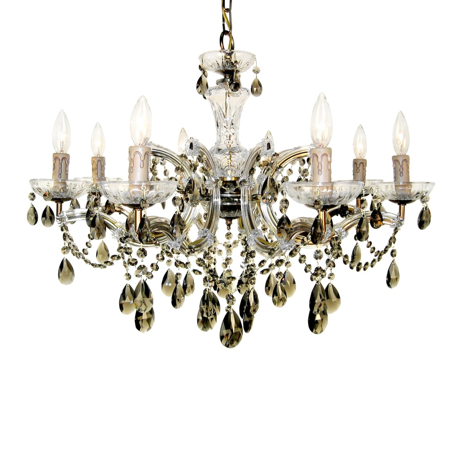 Classic Lighting Rialto 28-in 8-Light Renovation Brass Crystal Candle Chandelier