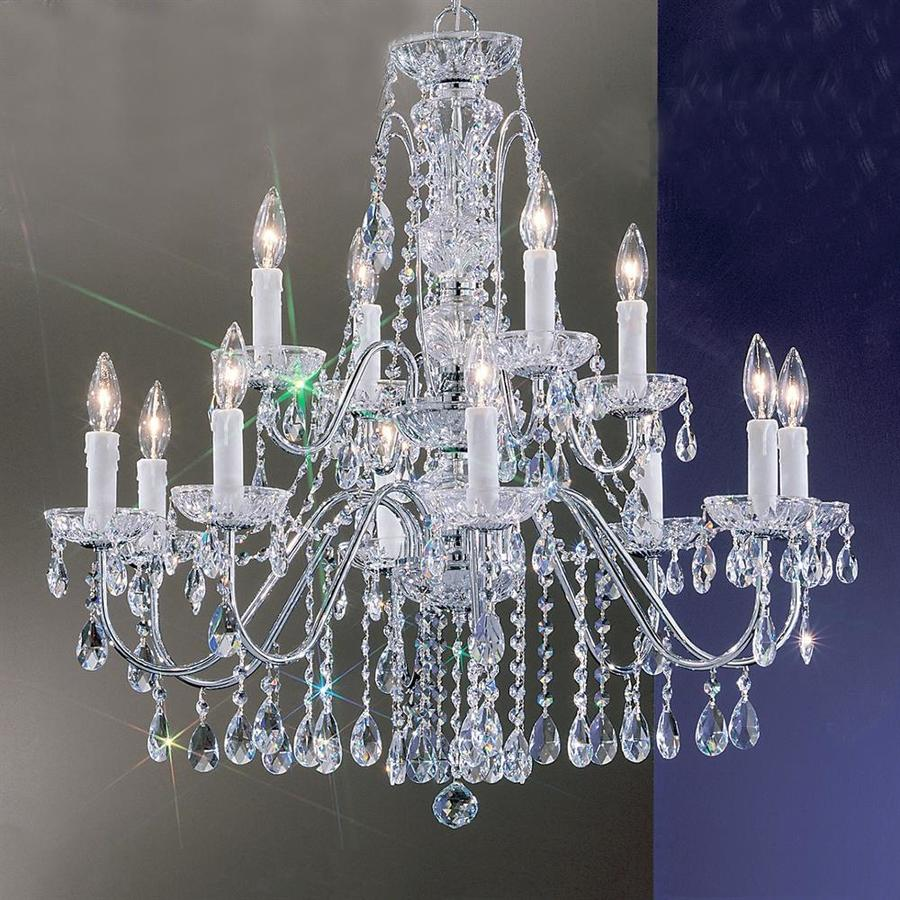 Classic Lighting Daniele 29-in 12-Light Chrome Crystal Tiered Chandelier