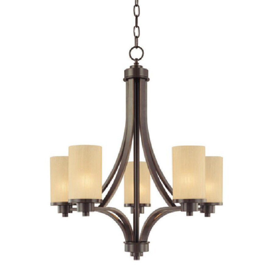 Artcraft Lighting Parkdale 24-in 5-Light Oil-Rubbed Bronze Shaded Chandelier