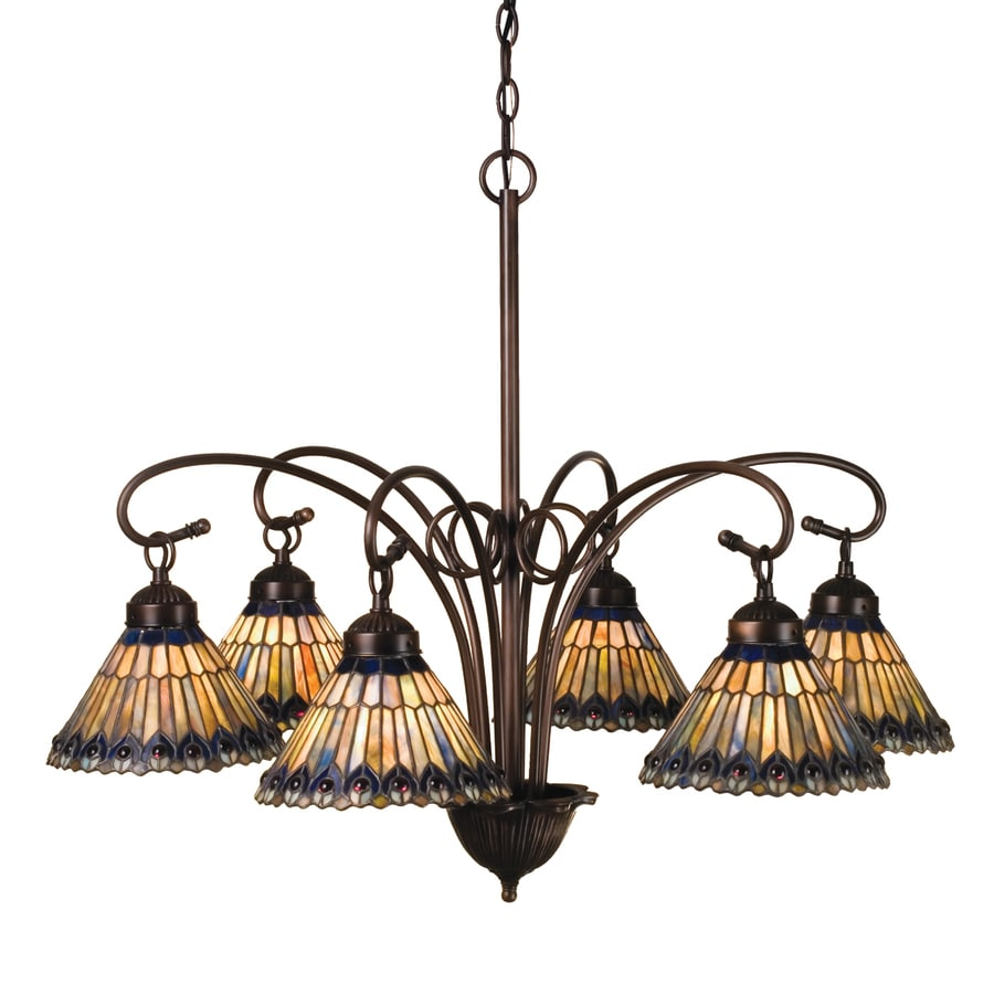 Meyda Tiffany Jeweled Peacock 31-in 6-Light Mahogany Bronze Tiffany-Style Hardwired Stained Glass Chandelier