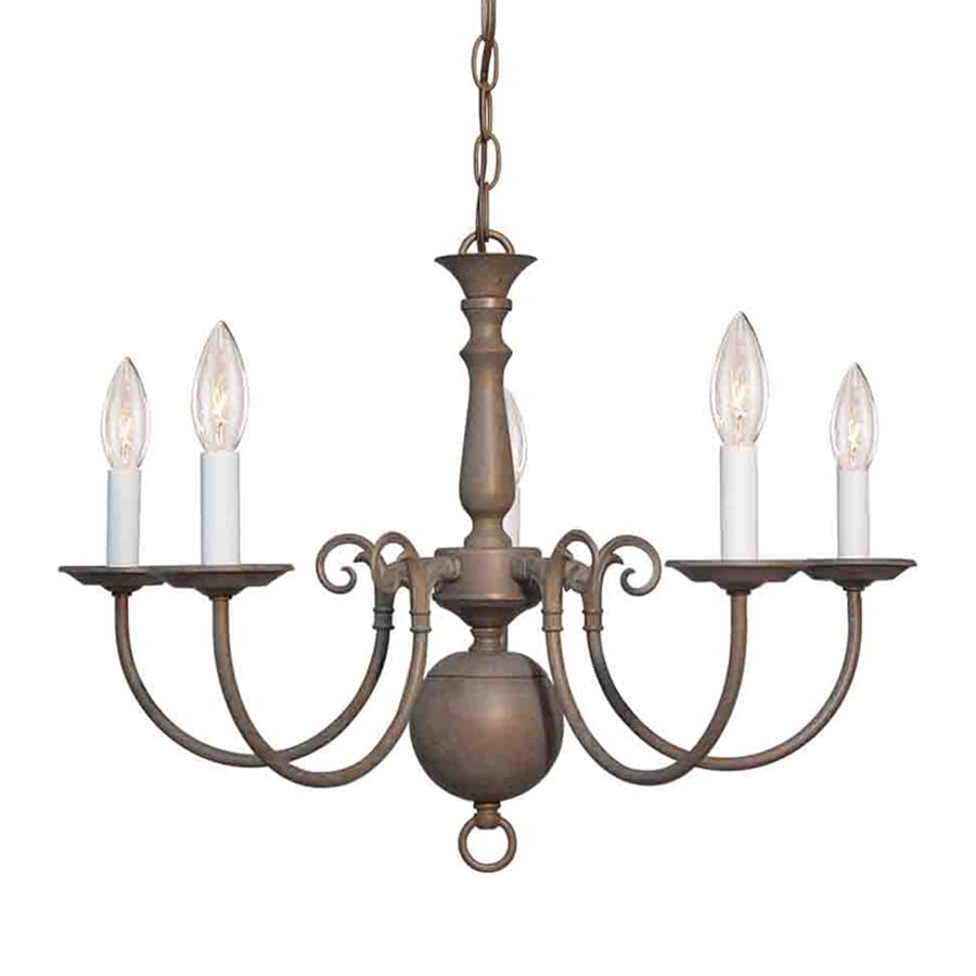 Volume International 23.5-in 5-Light Prairie Rock Williamsburg Candle Chandelier