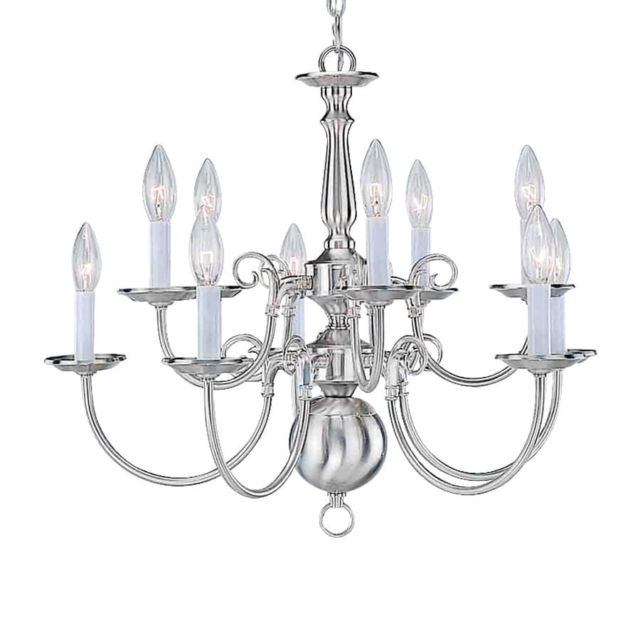 Volume International 23.5-in 10-Light Brushed Nickel Williamsburg Candle Chandelier
