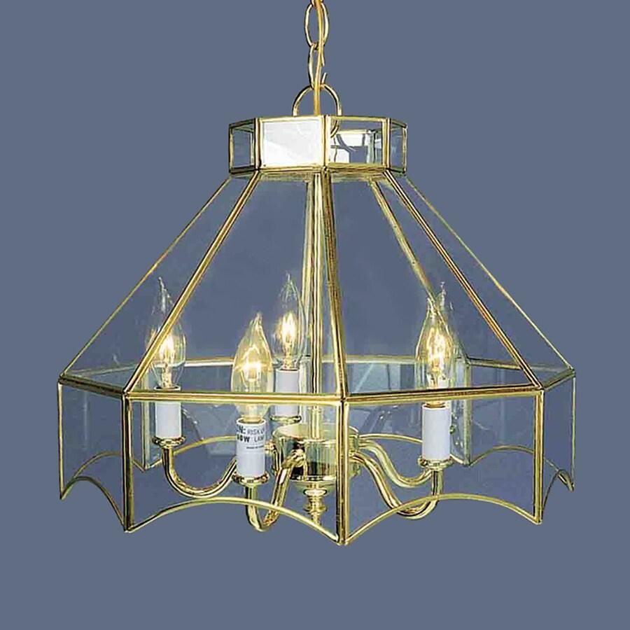 Volume International 16-in 5-Light Polished Brass Vintage Clear Glass Candle Chandelier