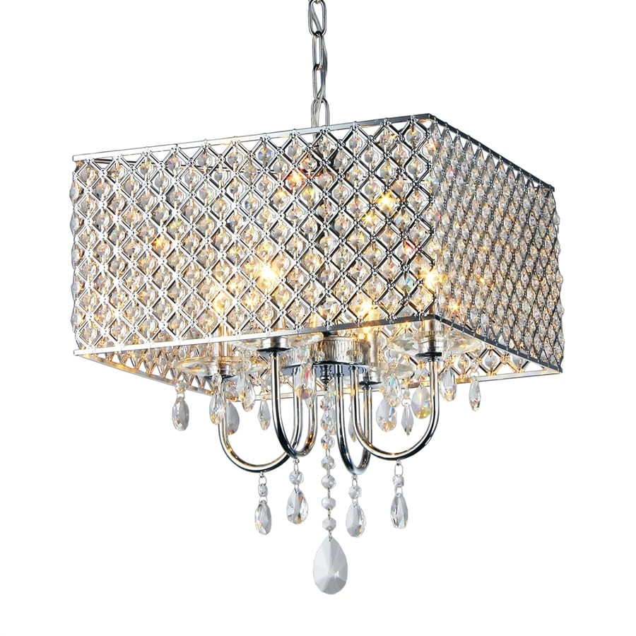 Warehouse of Tiffany 16.5-in 4-Light Chrome Cage Chandelier