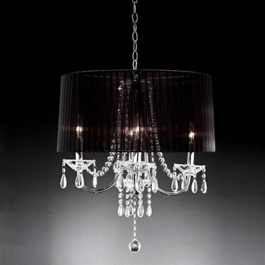 Warehouse of Tiffany 20-in 3-Light Chrome Vintage Shaded Chandelier