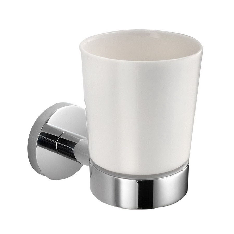 WS Bath Collections Napie Polished Chrome/White Porcelain Ceramic Toothbrush Holder