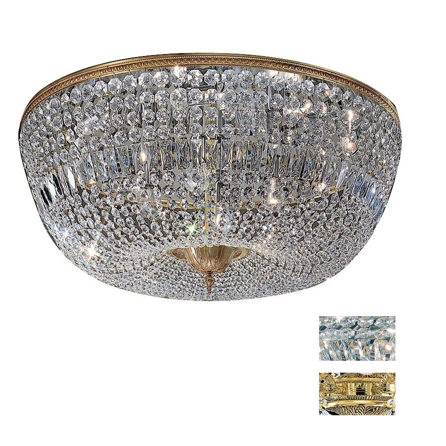 Classic Lighting 36-in Olde World Bronze Crystal Ceiling Flush Mount