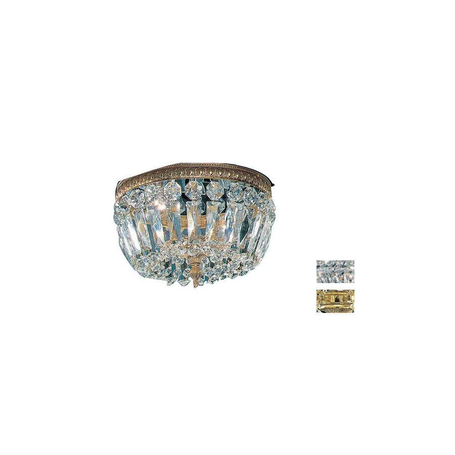 Classic Lighting 10-in W Olde World Bronze Crystal Ceiling Flush Mount