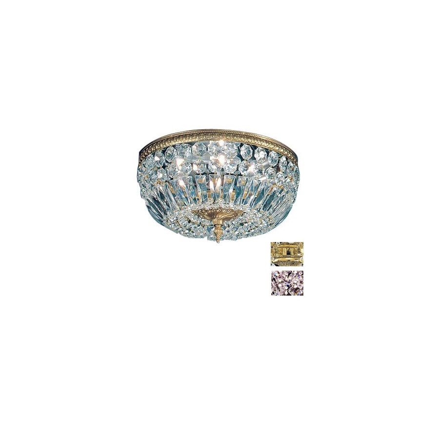 Classic Lighting 14-in Olde World Bronze Crystal Ceiling Flush Mount