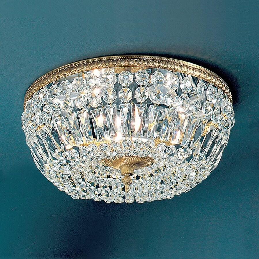 Classic Lighting Crystal Baskets 18-in W Olde World Bronze Crystal Ceiling Flush Mount Light