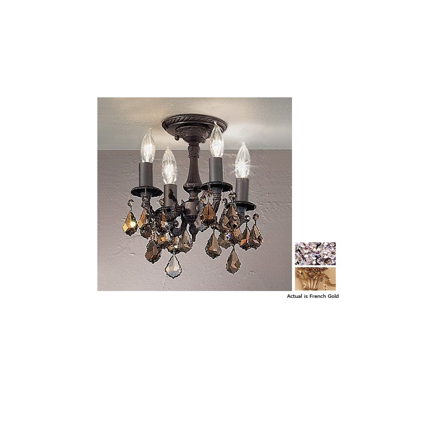 Classic Lighting 10-in W French Gold Crystal Accent Semi-Flush Mount Light