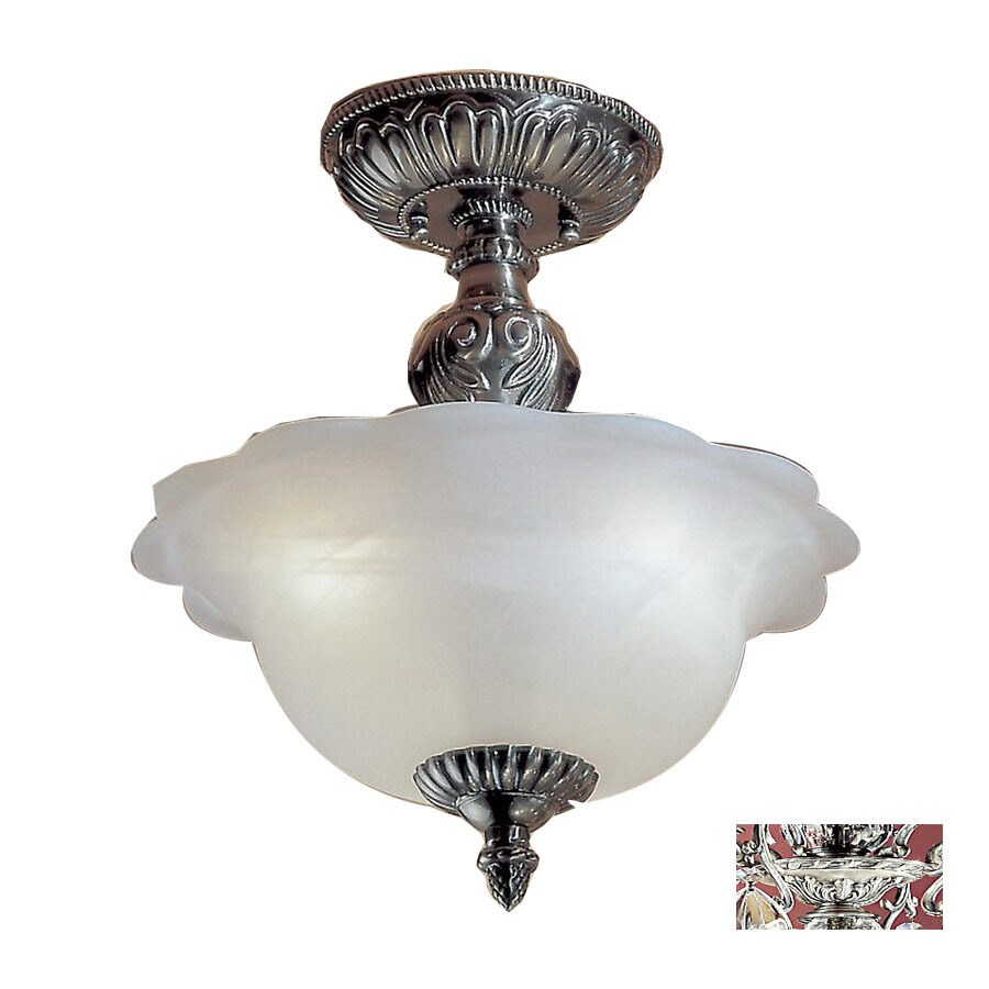 Classic Lighting 13-in W Millennium Silver Alabaster Glass Crystal Accent Semi-Flush Mount Light