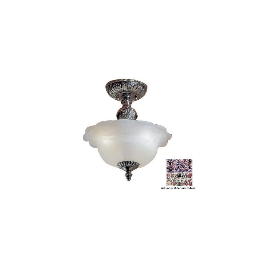 Classic Lighting 13-in Millennium Silver Alabaster Glass Semi-Flush Mount Light