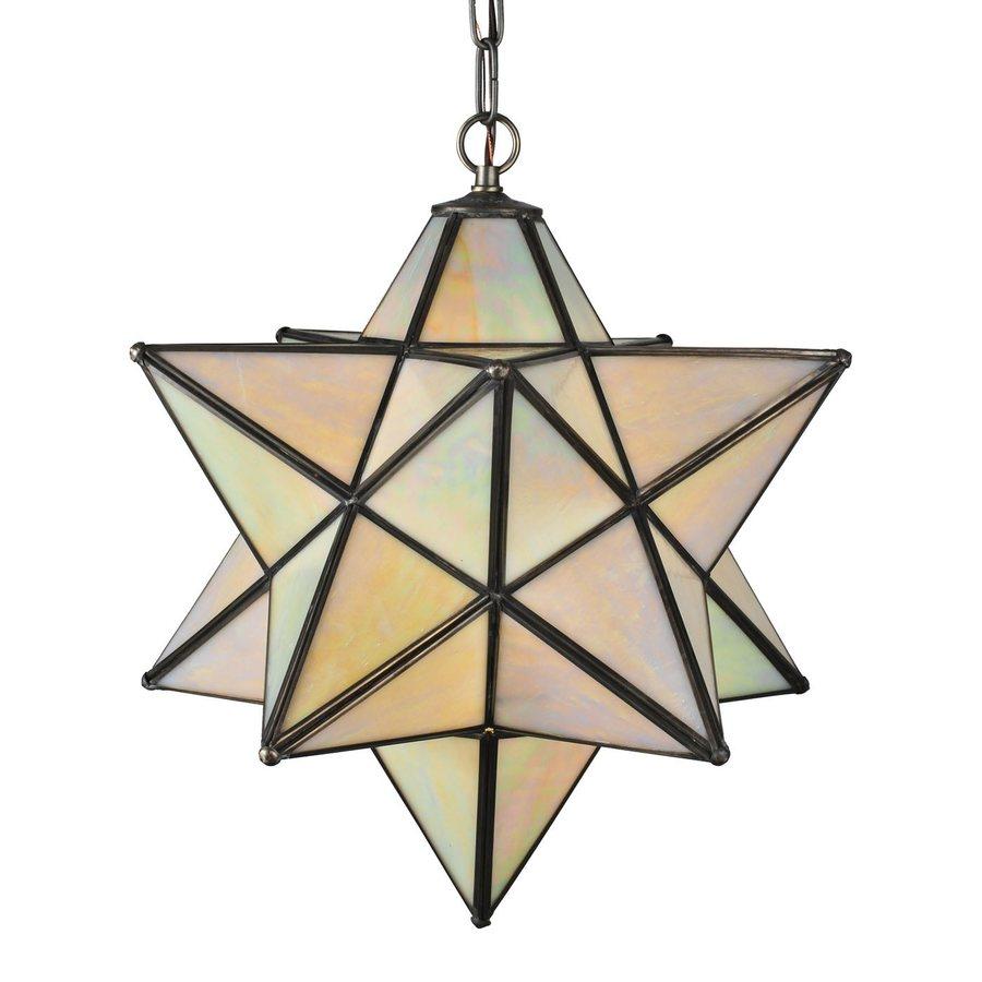 Meyda Tiffany Moravian Star 18-in Mahogany Bronze Hardwired Single Tinted Glass Star Pendant