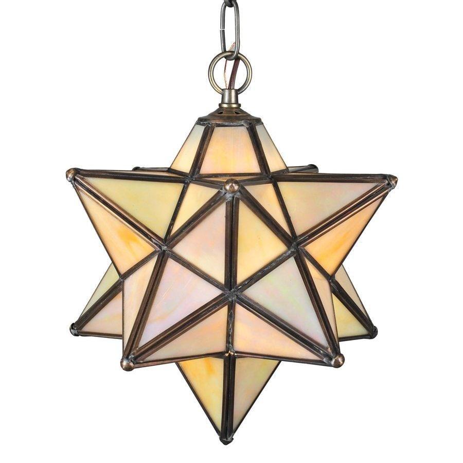Meyda Tiffany Moravian Star 12-in Mahogany Bronze Hardwired Single Tinted Glass Star Pendant