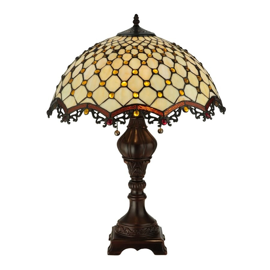 Meyda Tiffany 24-in Mahogany Bronze Art Glass Indoor Table Lamp with Tiffany-Style Shade