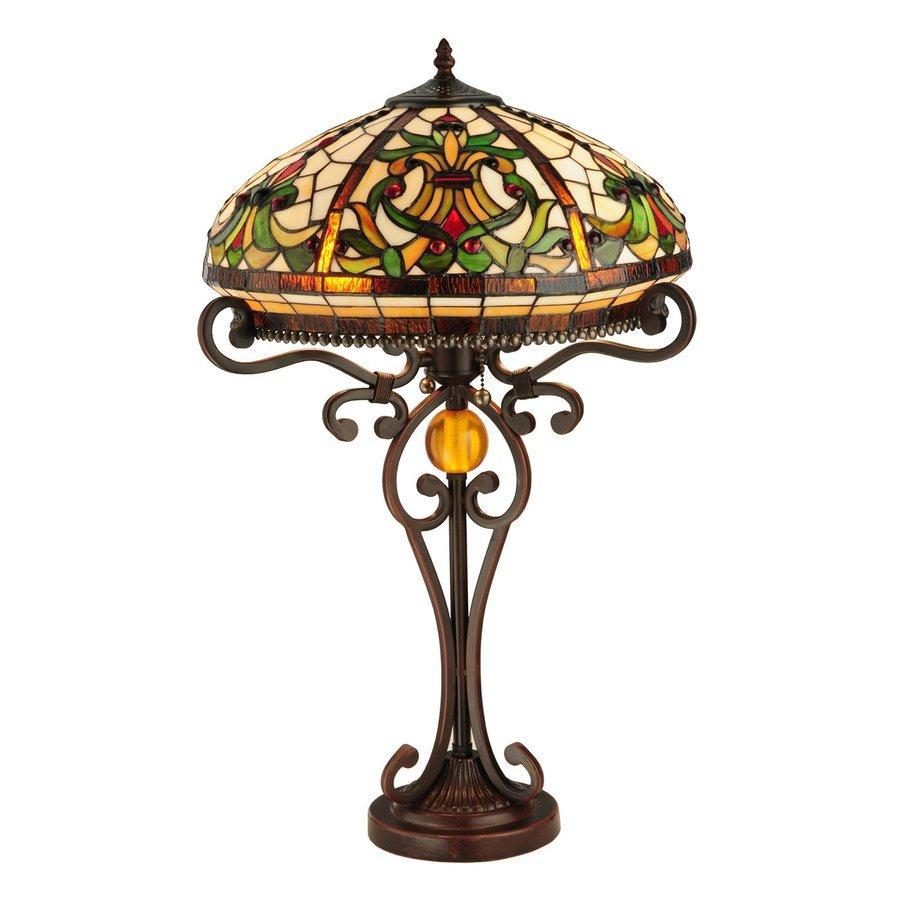 Meyda Tiffany 26-in Mahogany Bronze Indoor Table Lamp with Tiffany-Style Shade