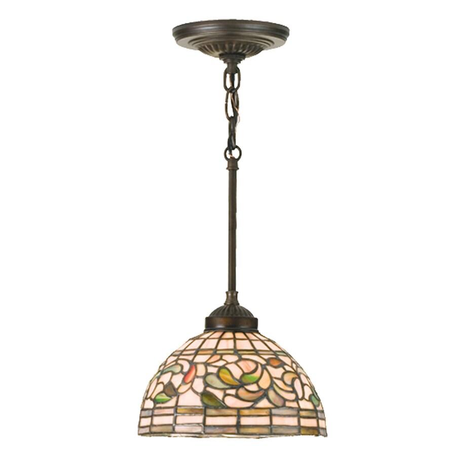 Meyda Tiffany Turning Leaf 8-in Mahogany Bronze Tiffany-Style Hardwired Mini Stained Glass Dome Pendant