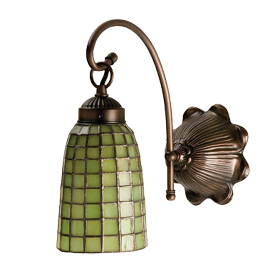 Meyda Tiffany Terra Verde 6-in W 1-Light Mahogany Bronze Tiffany-Style Arm Hardwired Wall Sconce