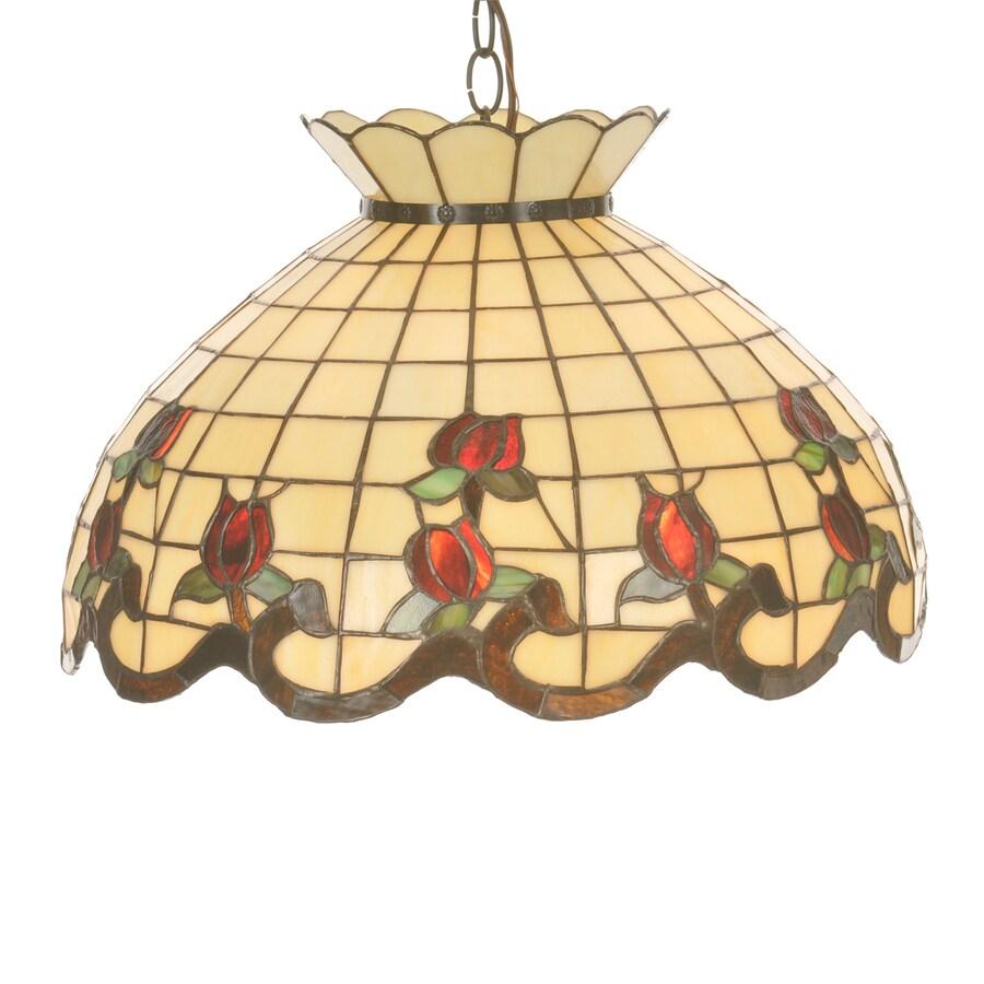 Meyda Tiffany Roseborders 20-in Mahogany Bronze Tiffany-Style Hardwired Single Stained Glass Dome Pendant