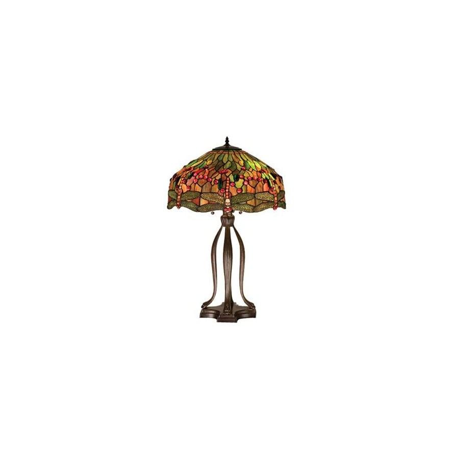Meyda Tiffany 30-1/2-in Mahogany Bronze Tiffany-Style Table Lamp with Glass Shade