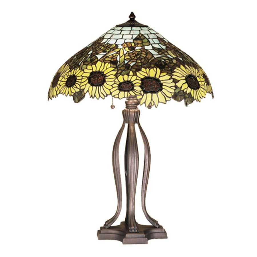 Meyda Tiffany 30-in Mahogany Bronze Indoor Table Lamp with Tiffany-Style Shade