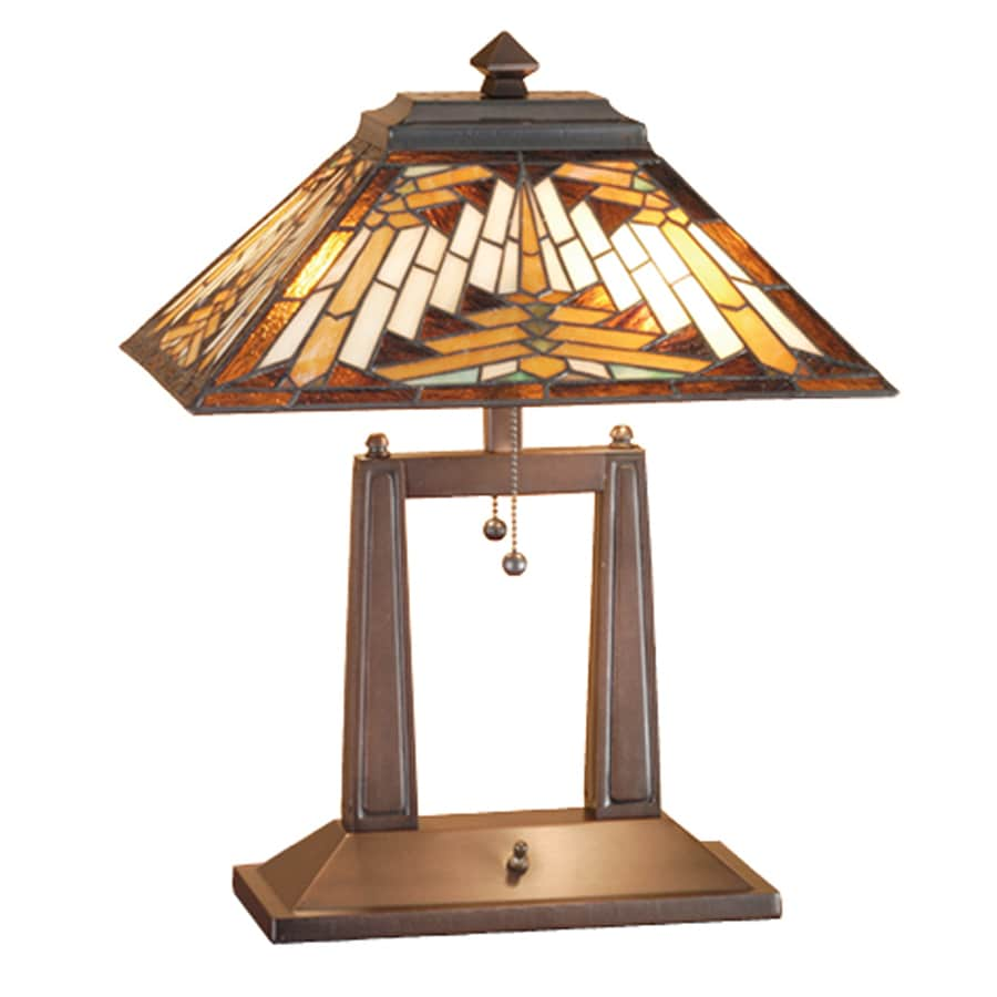 Meyda Tiffany 20-in Mahogany Bronze Indoor Table Lamp with Tiffany-Style Shade