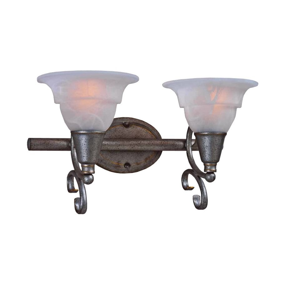 Volume International 2-Light Toledo Antique Silver Bathroom Vanity Light