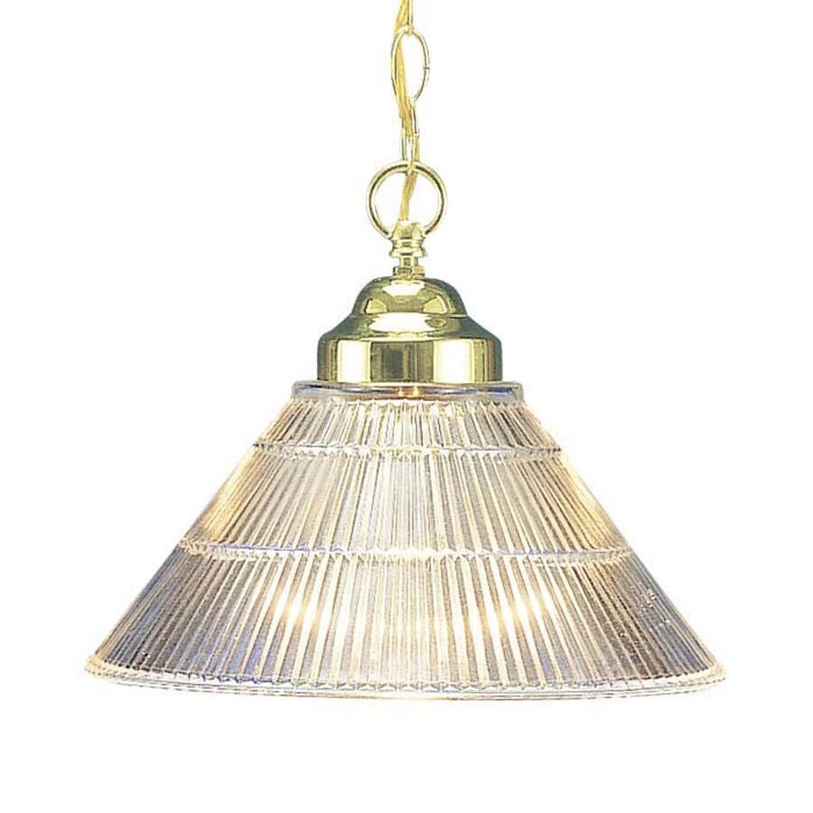 Volume International 12-in Polished Brass Single Ribbed Glass Cone Pendant