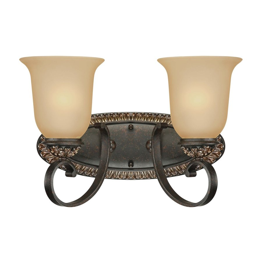 Shop Volume International 2-Light Bristol Vintage Bronze with Antique Gold Bathroom Vanity Light ...