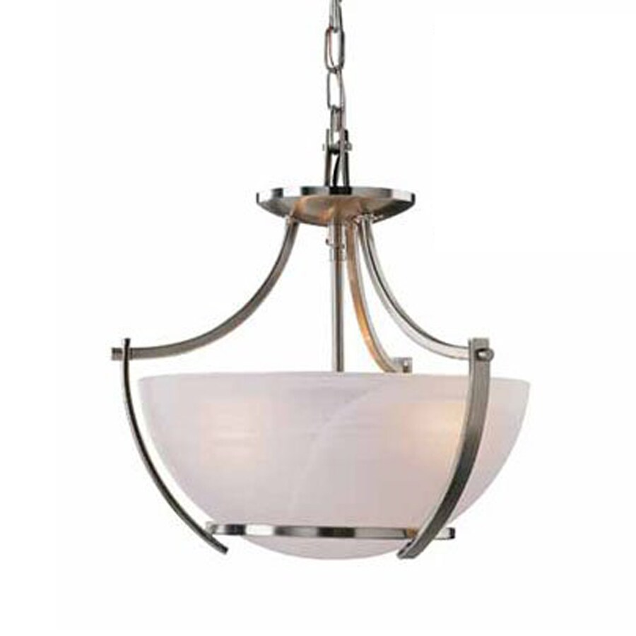 Volume International Durango 14.25-in Brushed Nickel Single Alabaster Glass Bowl Pendant