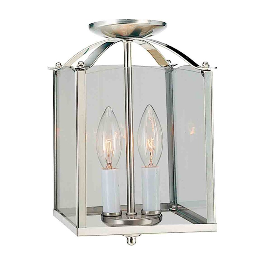 Volume International 9.25-in Brushed Nickel Vintage Mini Clear Glass Lantern Pendant
