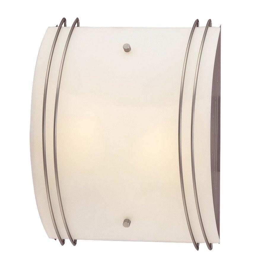 Volume International 10-in W 2-Light Brushed Nickel Art Glass Pocket Hardwired Wall Sconce