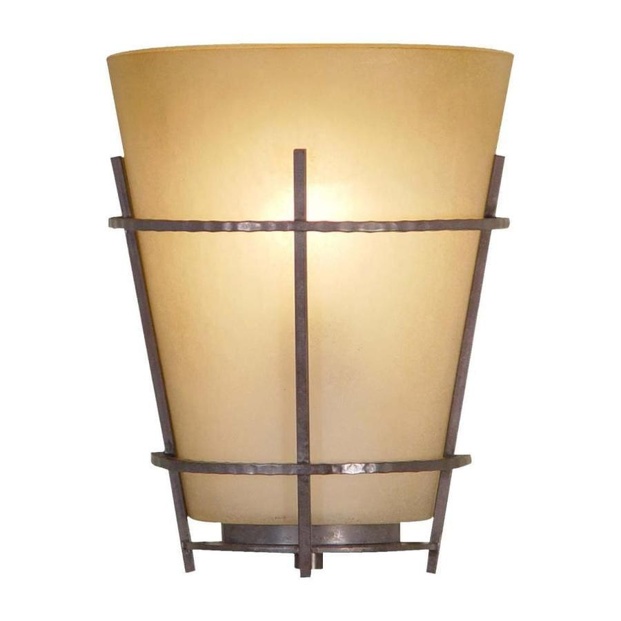 Volume International Lodge 8-in W 2-Light Frontier Iron Pocket Hardwired Wall Sconce