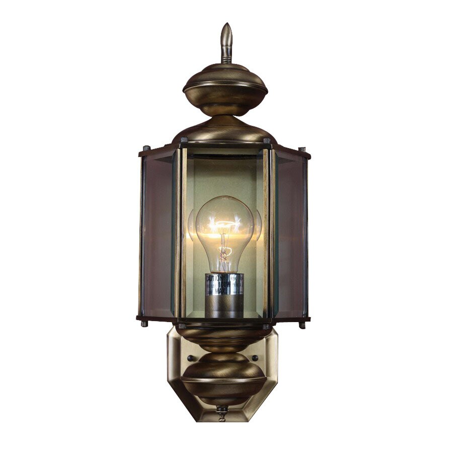Volume International 17-1/2-in Antique Solid Brass Outdoor Wall Light