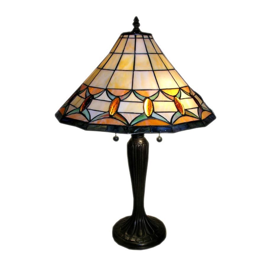 Warehouse of Tiffany 25-in White Tiffany-Style Table Lamp with Glass Shade