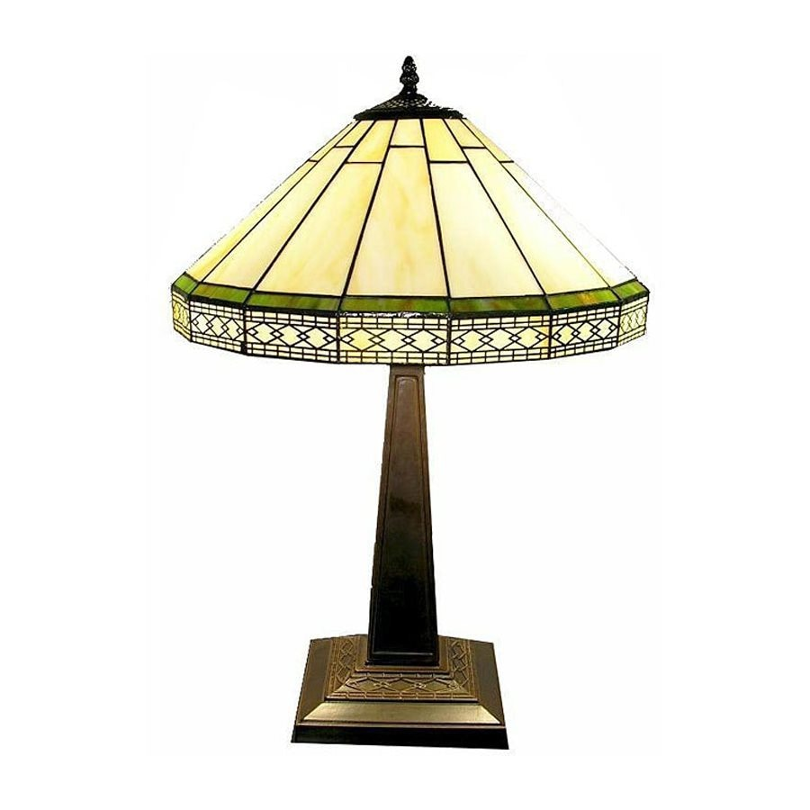 Warehouse of Tiffany Roman 24-in Bronze Tiffany-Style Table Lamp with Glass Shade