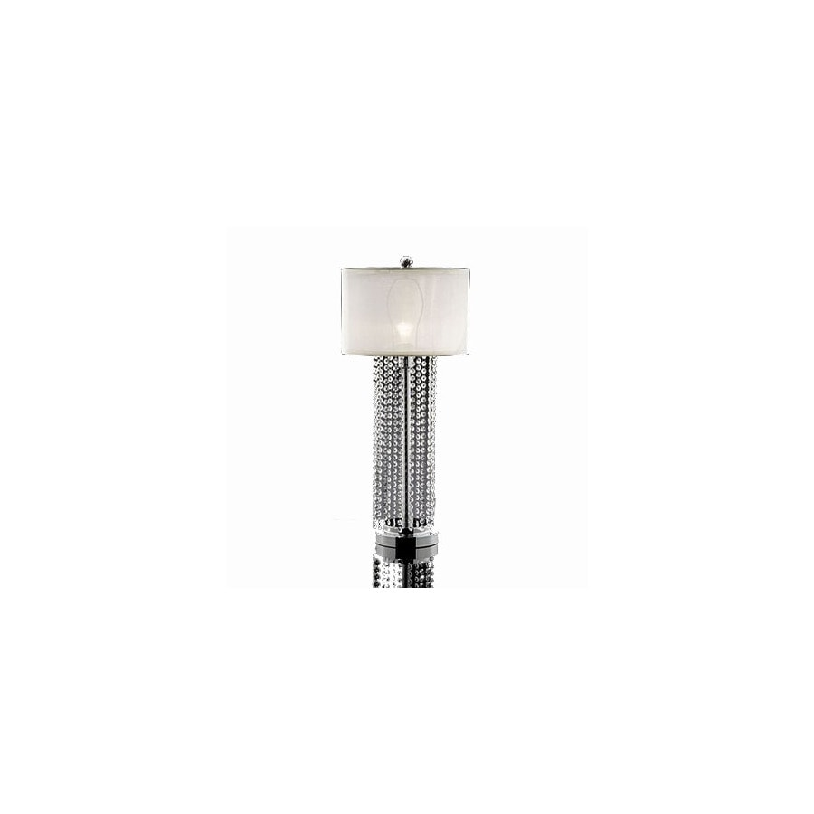 Warehouse of Tiffany 31-in Chrome Crystal Accent Table Lamp with Fabric Shade