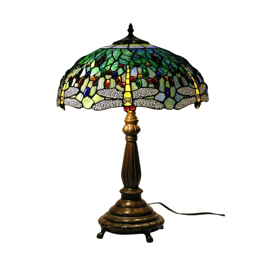 Warehouse of Tiffany Dragonfly 22-in Bronze Tiffany-Style Table Lamp with Glass Shade