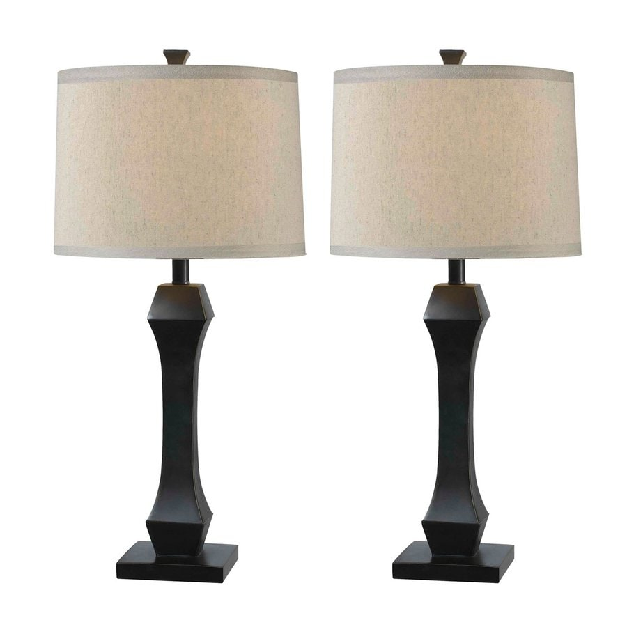 Kenroy Home Gemini 29-in Oil-Rubbed Bronze Table Lamp with Fabric Shade